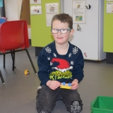 Pupil wearing Christmas jumper