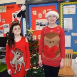 Pupils wearing Christmas jumpers