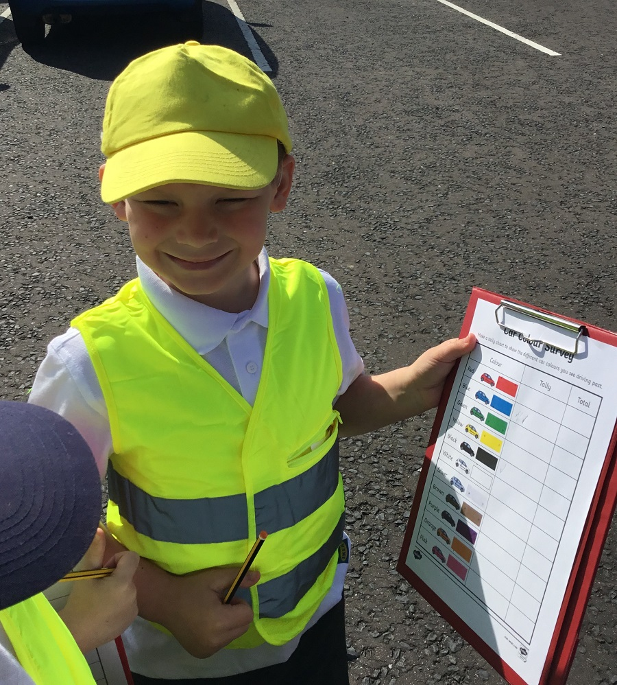 Pupil from class 2 performing a transport survey
