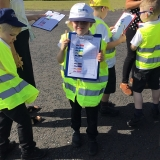 Pupils from class 2 performing a transport survey