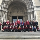Picture of staff and pupils outside St Anne's Cathedral