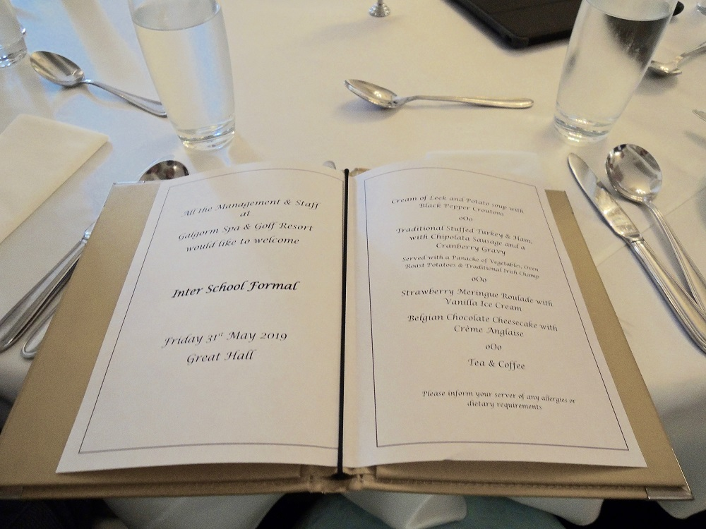Picture of the formal meal menu