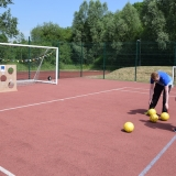Picture of students trying the penalty shoot out