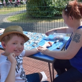Picture of pupil getting a sticker tattoo
