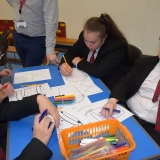 Photograph of pupils discussing and writing down what made them feel stressed or 'down'