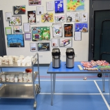 Photograph of drinks and biscuits for pupils