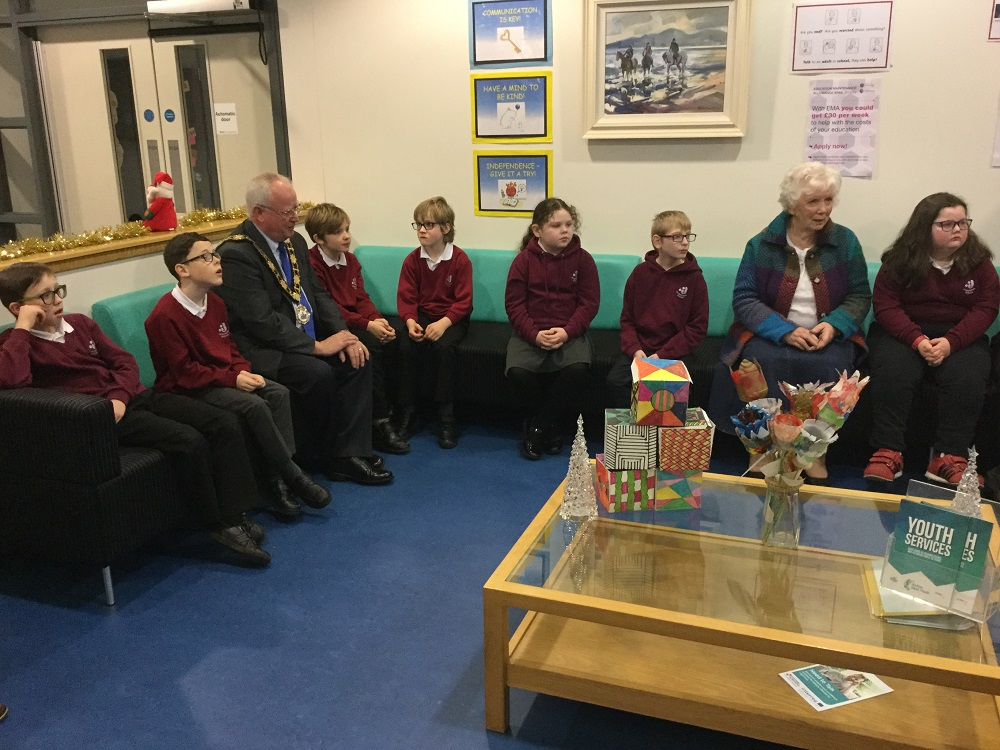 Photograph of Alderman John Smith and Mrs Joan Christie speaking to pupils