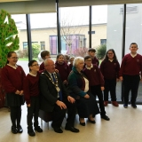 Group photograph of Alderman John Smyth, Mrs Joan Christie and the pupils at the end of their visit