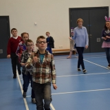 Picture of pupils exercising in the Gym with staff