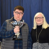 Photograph of Ms Rosaleen Dempsye and a school leaver  with their special awards
