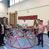 Picture of pupils constructing a geodesic dome