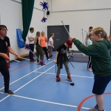 Photograph of pupils  at the circus skills workshop
