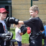 Photograph of pupils  learning how to box