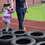 W66Photograph of a pupil on the mini assault course