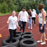 Photograph of pupils on the mini assault course