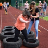 Photograph of a pupil on the mini assault course