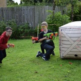 Photograph of pupils playing with the nerf guns