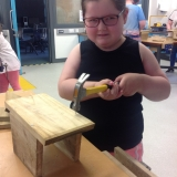 Pupils building bird boxes
