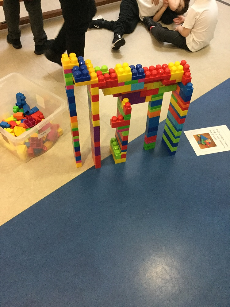 Photograph of a lego bridge