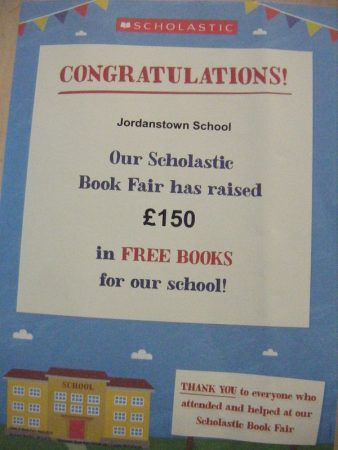 Congratulations Certificate image for raising £150 at the Scholastic Book Fair in school