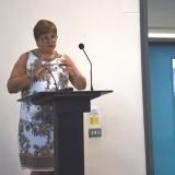 Picture of the NI Commissioner for Children and Young People Koulla Yiasouma speaking at the conference
