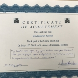 Picture of the achievement  certificate