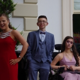 Picture of three pupils arriving at the hotel