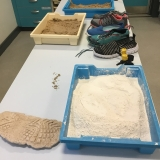 Photograph of equipment to make shoe sole casts