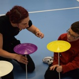 Photograph of a pupil at the circus skills workshop