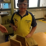 Pupils building bird boxes