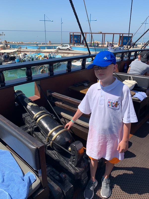 Photograph of a pupil on the Black Pearl pirate ship