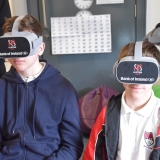 Photograph of pupils using virtual reality googles